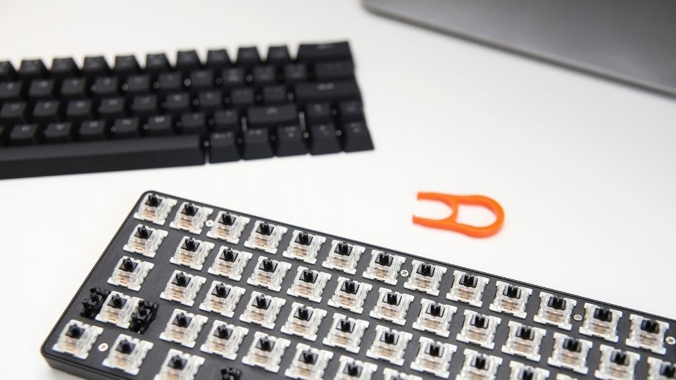 Removing all of the keycaps from A mechanical keyboard